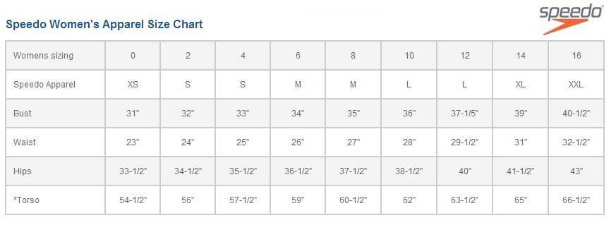 Speedo Swim Parka Size Chart