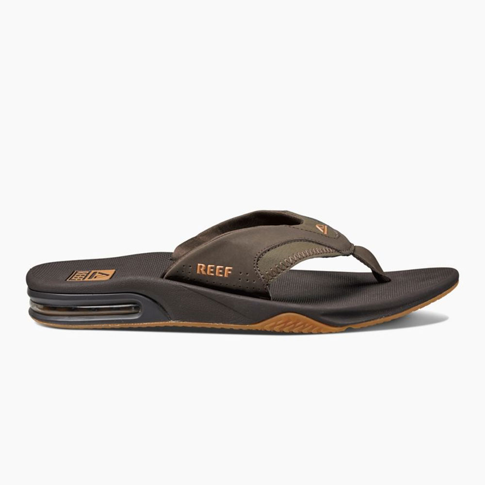 Reef Leather Fanning Brown Infradito Uomo